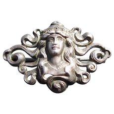 Antique Sterling Silver Art Nouveau Brooch / Pin