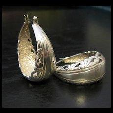 Vintage Sterling Silver Scroll Hoop Earrings