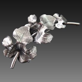 Vintage Sterling Silver Leaf Brooch / Pin by Beaucraft