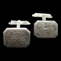 Silver Cuff Links Hand Engraved