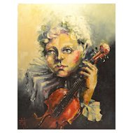 "Vintage Contemporary Impressionist Oil and Pastel on Canvas Painting Entitled ""Violinist "" Signed C. 20th Century"