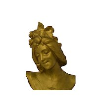 Superb Antique French Art Nouveau Bust of LA AUTOME C. 1880 - 1900