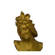 Superb Antique French Art Nouveau Bust of LA AUTOME C. 1880 - 1900