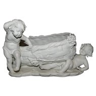 Magnificent Large Antique Victorian Parian Cherub / Putti Wine Theme Figural Jardinière C. 1850-1890