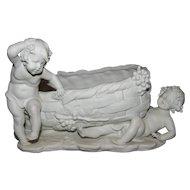 Magnificent Large Antique Victorian Parian Cherub / Putti Wine Theme Figural Jardinière C. 1850-1890