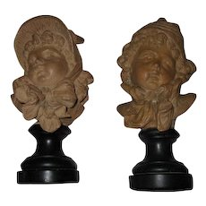 Fine Antique Set of French Terracotta/Plaster Statues of Boy & Girl by E.Guillemin C. 1880
