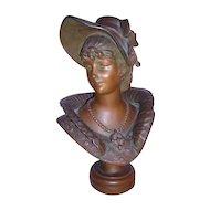 """Excellent Victorian Art Nouveau Bronzed Metal Bust of 'KAREN"""" by M. Dutrion C. 1880-1900"""