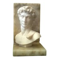 Superb Italian Alabaster on Marble Bust of Ares & Aphrodite C. 1900-1940