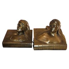 Beautiful Vintage Set of Bronze Bookends of Dante and Beatrice by Jennings Brothers C. 1900-1930