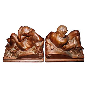 Exquisite Rare Original Vintage Michelangelo's Twilight & Dawn Bronzed Bookends by Armor Bronze C. 1922
