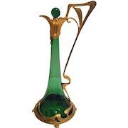 Magnificent Antique Art Nouveau or Judgendstil Emerald Green Glass Claret / Decanter with Gold Ormolu Dore Bronze Case C. 1890-1910