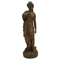 Beautiful Antique French Classical Statue of Aphrodite With Original Gold Gild Finish C. 1850-1900