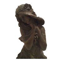 Antique Large Art Nouveau Bust of Nymph or Maiden C. 1880-1910