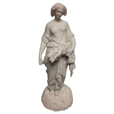 Fine Antique Parian Statue of Classical Greek Maiden During Harvest C. 1890