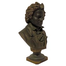 Beautiful Antique Bronzed Bust of Beethoven C. 1900