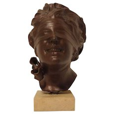 Antique Bronze Bust of La Fortuna or The Fortune by Italian Sculptor Vincenzo Aurisicchio C. 1880-1900