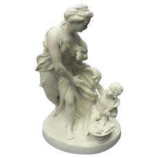 Antique Parian Bisque sculpture of Neo-Classical pose of Mother and Child C. 1880-1910