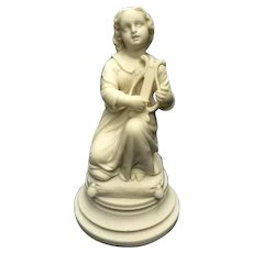 Antique Parian Bisque Sculpture Neo-Classical pose of Girl with Lyre C. 1880-1910