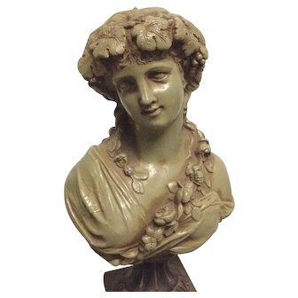 Fine Rare Antique French Victorian or Art Nouveau bust of a Classical Greek Bacchante  C. 1880-1910