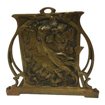 Exquisite Large Antique French Bronzed Art Nouveau Maiden Book-Rack. Un-Signed. C. 1900 - 1910