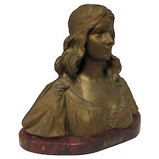Wonderful Antique Art Nouveau Belgian or French Bust of Italian Maiden by Henri Jacobs C. 1900