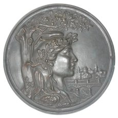 Magnificent Large Antique French Bronze Plaque of French Liberty Marianne C. 1880-1920