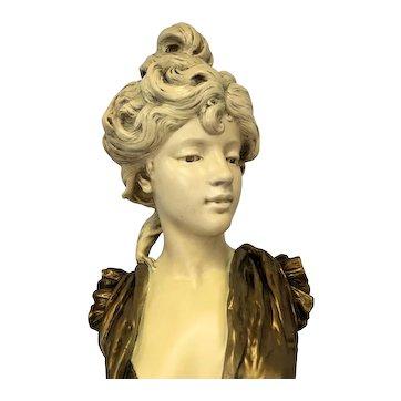Magnificent Large Rare Antique French Art Nouveau Plaster and Gesso Bust of Parisian Woman C. 1880-1910