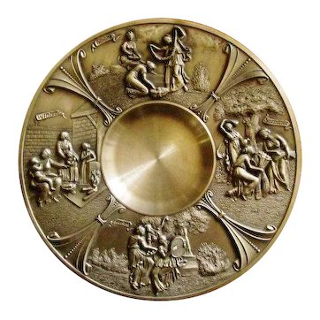 Superb Vintage Bronzed Pewter Neo-Classical 4 Seasons Wall Plaque by SKS Zinn