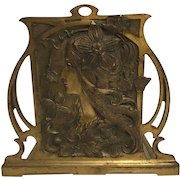 Exquisite Antique Bronzed French Art Nouveau Maiden Bookrack Mucha Style C. 1900-1910