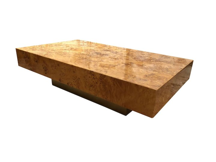 Attractive Vintage French Burl Wood Coffee Table Made By Christofle Paris