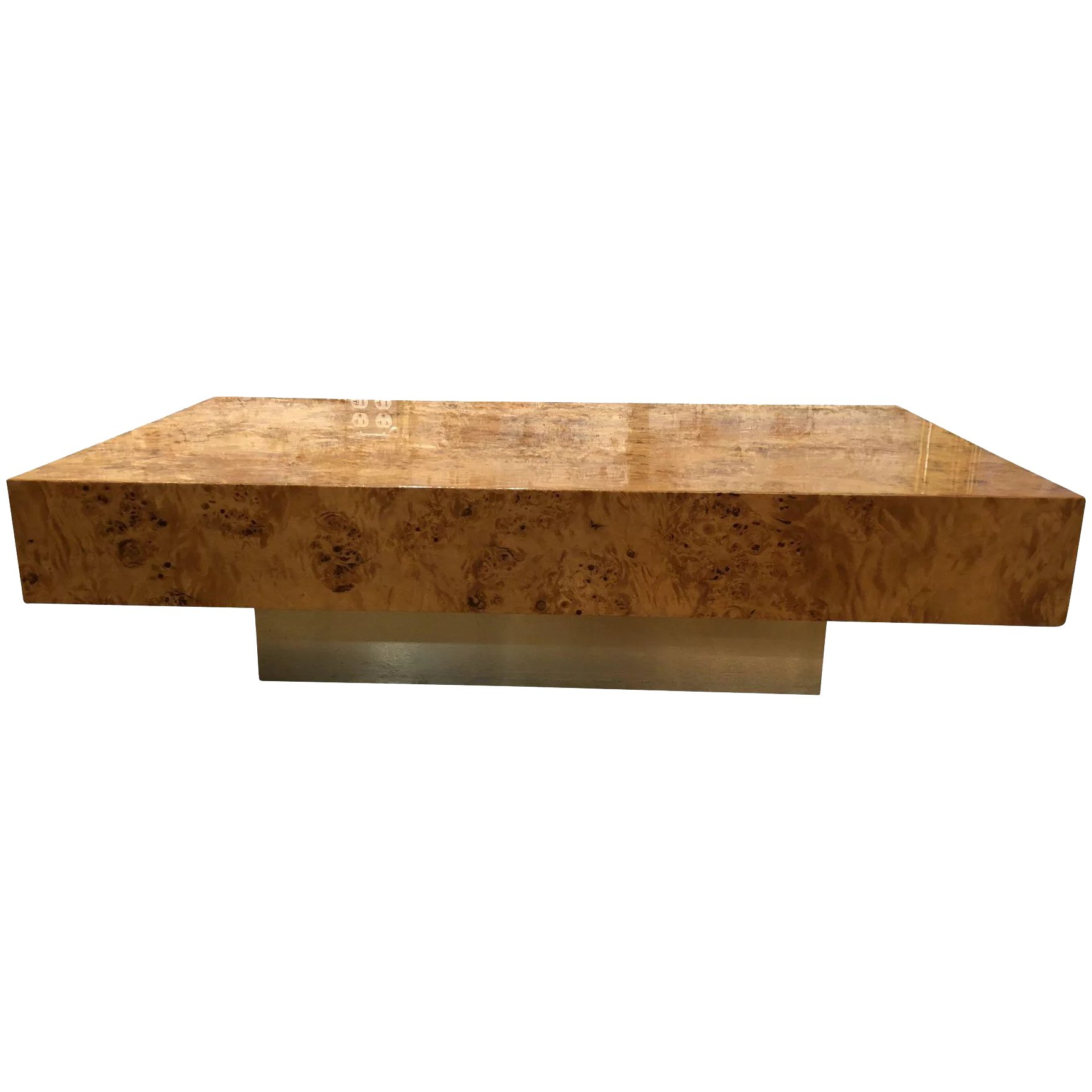 - Attractive Vintage French Burl Wood Coffee Table Made By