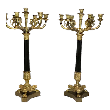 Pair Large 19th Century French Empire Style Ormolu Bronze Candelabras