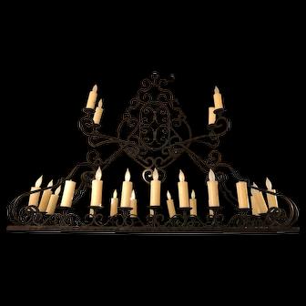 Large Spanish Gothic Style Iron 24-Light Chandelier Light Fixture