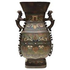 Large Meiji Period Japanese Bronze & Champleve Enamel Vase