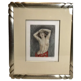 """Color Etching Nude Titled """"Phoebe"""" (CA, 1928) Signed in Pencil"""