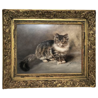 Swiss Painted Oil On Board Depicting a Cat by Louis Babelay