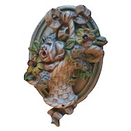 "Vintage 1930's Cast Iron Doorknocker ""French Flower Basket"""