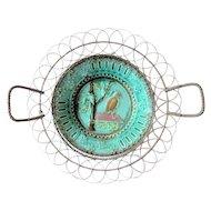 Antique German Majolica Wire Work Bread Basket Circa 1900