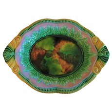 Circa 1880's  English Majolica Bread Platter