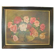 Rose Painting Oil On Board Dated 1935 and Signed
