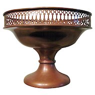 Vintage Copper  Metal Reticulated Rim Footed Compote