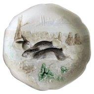 Circa 1900 French Majolica Rabbit Plate