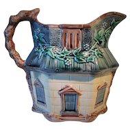 Circa 1880's English Majolica Pitcher Whimsical Cottage