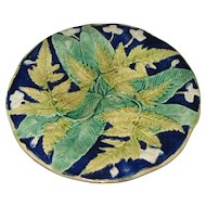 Circa 1880 English Majolica Plate Fern Leaves On Cobalt Blue Background