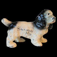 Hubley Cast Iron Paper Weight Dog with Advertising for Baltimore