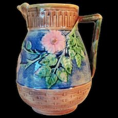 Circa 1880 American Majolica Etruscan Butterfly Lip Pitcher