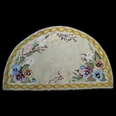1930's Hand Hooked Half Round Floral Pansy Rug