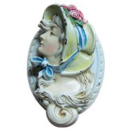 Wonderful Hubley Cast Iron Woman in Bonnet Door Knocker