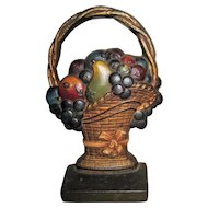 Circa 1930's Cast Iron Doorstop CJO Fruit in French Basket