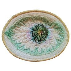1880's Majolica Large Platter with Begonia Leaf Center